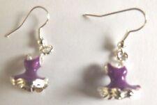 Boucles d'oreilles argentées robe violet foncé 18x12 mm