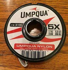 """1 Spool Umpqua 5X Nylon Line Tippet Leader Material 30 yd 0.006"""" (27m 0.15mm)"""