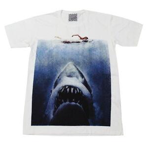 ARAINA JAWS Shark Surf Indie Vintage Casual Shirt #AR90 Men White T-Shirt S M L
