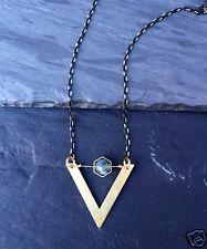 Handmade Minimal Brass Triangle Chevron Hexagon Green Moss Agate Necklace Black