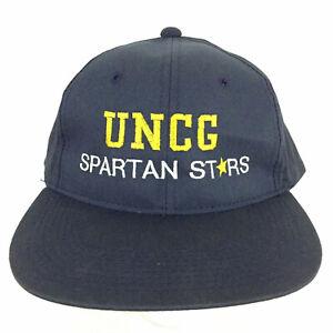 Vtg UNCG Greensboro Spartan Stars Cap Script Spell Out Logo Baseball Trucker Hat