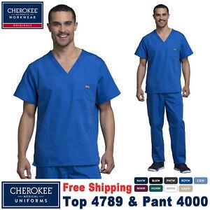 Cherokee Scrubs Set ORIGINALS Men's V-Neck Top & Drawstring Cargo Pant 4789/4000
