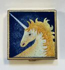 Limoges Limited Unicorn Pill BOX Enamel Square Hinged Lid Trinket Hand Crafted