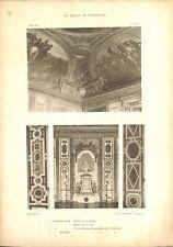 Salon de Diane & Venus Marbre Plafond Peint Château de Versailles GRAVURE 1899