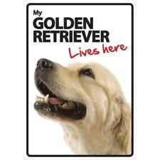 Golden Retriever Lives Here A5 Plastic Sign