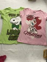Girls Disney Frozen And Peanuts Short Sleeve T-Shirt Size LARGE 10/12