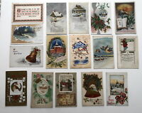 LOT OF 16 NEW YEAR GREETINGS ANTIQUE POSTCARDS SOME EMBOSSED-1910 CALENDAR-JAN 1