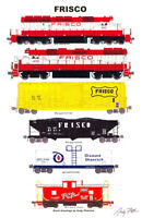 """Frisco Freight Train 11""""x17"""" Railroad Poster Andy Fletcher signed"""
