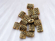 40 x Spacer Beads 7mm x 5mm Antique Gold LF NF, Rectangular Bead Chinese Knot