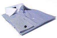 Labiyeur Men's Slim Fit French Cuff Striped Dress Shirt White/Blue