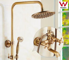"WELS Antique Brass Bathroom Shower Faucet Set 8"" Rain Hand Shower Tub MixerTaps"