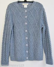 APPLESEED'S PETITES Cardigan Sweater Cable Knit Blue 70% Cotton Petite Size S PS