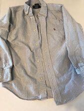 Raph Lauren Seersucker Button Down Dress Shirt Boys Sz 7