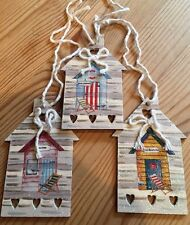 3 Nautical Beach Hut Hanging Decorations Shabby Chic Hand Painted Ducal Neutral