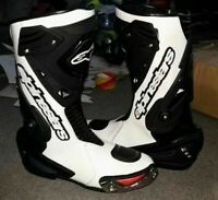 BLACK & WHITE MOTOGP MOTORBIKE MOTORCYCLE COWHIDE LEATHER BIKERS RIDING BOOTS