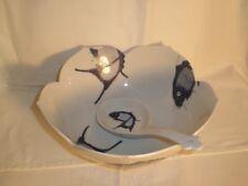"""KOI Serving Bowl w/ Spoon Lotus Shape 10"""" Scalloped White Blue Fish EXC"""