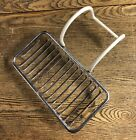 Large Vintage Chrome Wire Clawfoot Tub Soap/Sponge Holder With Vinyl Coated Arms