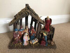 Vintage Nativity Manger Scene with Figurines Lovely Christmas Decoration