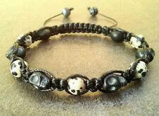 Men's shamballa stone beaded bracelet JASPER SKULL bead jewelry cuff wristband
