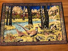 Vintage Pheasant Hunting Black Velour Embroidered Tapestry Wall Hanging Velour