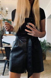 ZARA BLACK FAUX LEATHER HIGH WAISTED TIE BELT SHORTS 8 10 S NEW