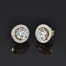 HUCHE Luxury Yellow Gold Filled Stud Diamond Clear Crystal Women Party Earrings