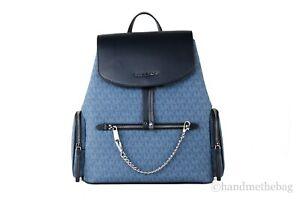 Michael Kors Jet Set Item Large Signature PVC Chain Backpack Bag Flap Bookbag