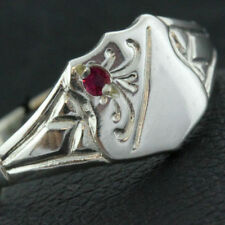 Ring Real 925 Solid Sterling Silver Ruby Engraved Vintage Signet Design Size M 6