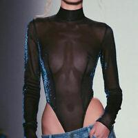Sexy Women Mesh Sheer Turtleneck Long Sleeve Perspective  Bodysuit Bodystocking