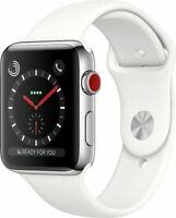 Apple Watch Series 3 GPS + Cellular Silber 42mm Edelstahl Sportband Weiß