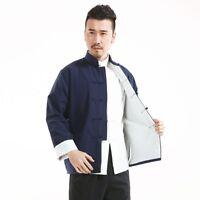 Men Cotton Chinese Kung Fu Jacket Retro Long Sleeve Button Tang Suit Han Fu Coat