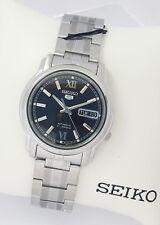 SEIKO 5 Men Silver tone Automatic Watch SNKK81K1 SNKK81 BLACK Dial NEW w box