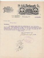 U.S. The A.G. Harbaugh Co. Cleveland Logo 1901 Oils Paid Invoice Letter Rf 44080