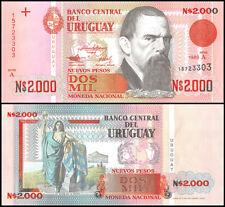 Uruguay 2,000 (2000) Nuevos Pesos, 1989, P-68, UNC