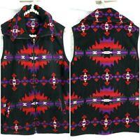 Chaps By Ralph Lauren Aztec Fleece Vest Womens Size Large Southwestern Full Zip