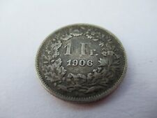 1906 Silver Swiss 1 Franc Coin in High Grade Condition