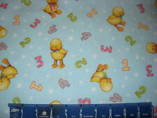 FLANNEL BLUE JEAN TEDDY DUCKS 123 STARS COTTON FABRIC BTY