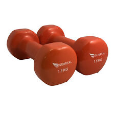 2 X 1.5KG Vinyl Dumbbell Hand Free Weights Strength Training  Aerobic