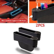 Black Car Accessories Seat Gap Bag Storage Organizer w/4 USB Ports & LED Light