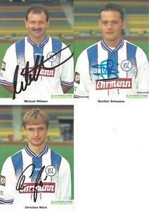 3 x AK Karlsruher SC 1997/98 - SCHEPENS - WITTWER - WÜCK - original signiert