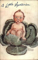 Katharine Gassaway Baby in Cabbage A LITTLE VEGETARIAN c1910 TUCK Postcard