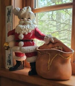 1969 Vintage Ceramic Santa Claus With Bell And Gift Bag, Signed