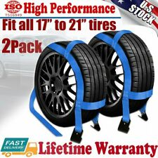 2X Tow Dolly Basket Straps Tiedown car tire Net W/Flat Hooks Fit 17''-21'' Wheel