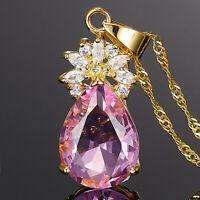 Damen Schmuck 18K Gold Vergoldet Birne Rosa Saphir Geschenk Anhaenger Halskette