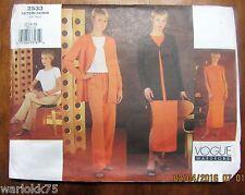 Vogue Sewing Pattern Jacket Top Dress Pants Uncut FF 12 14 16 Misses or Petite