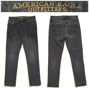 American Eagle 360 extreme flex size 28 x 30 slim dark grey black jeans 10D15