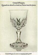 Publicité Advertising 1975 Cristal d'Arque Verre modèle Chaumont
