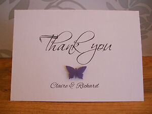 Handmade Personalised Butterfly Wedding Civil Party Thank You Cards