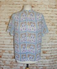 size 12 vintage 90s Japanese sheer blouse collarless s/sleeve loose crazy print