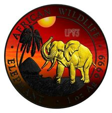 2017 1 Oz Silver AFRICAN ELEPHANT AT SUNSET Coin W/ RUTHENIUM and 24 Gold Gilded